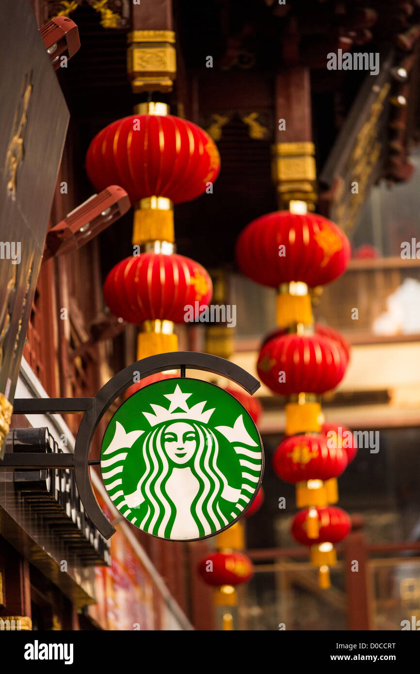 A sign for Starbucks store in the historic Yu Yuan Bazaar Shanghai, China - Stock Image