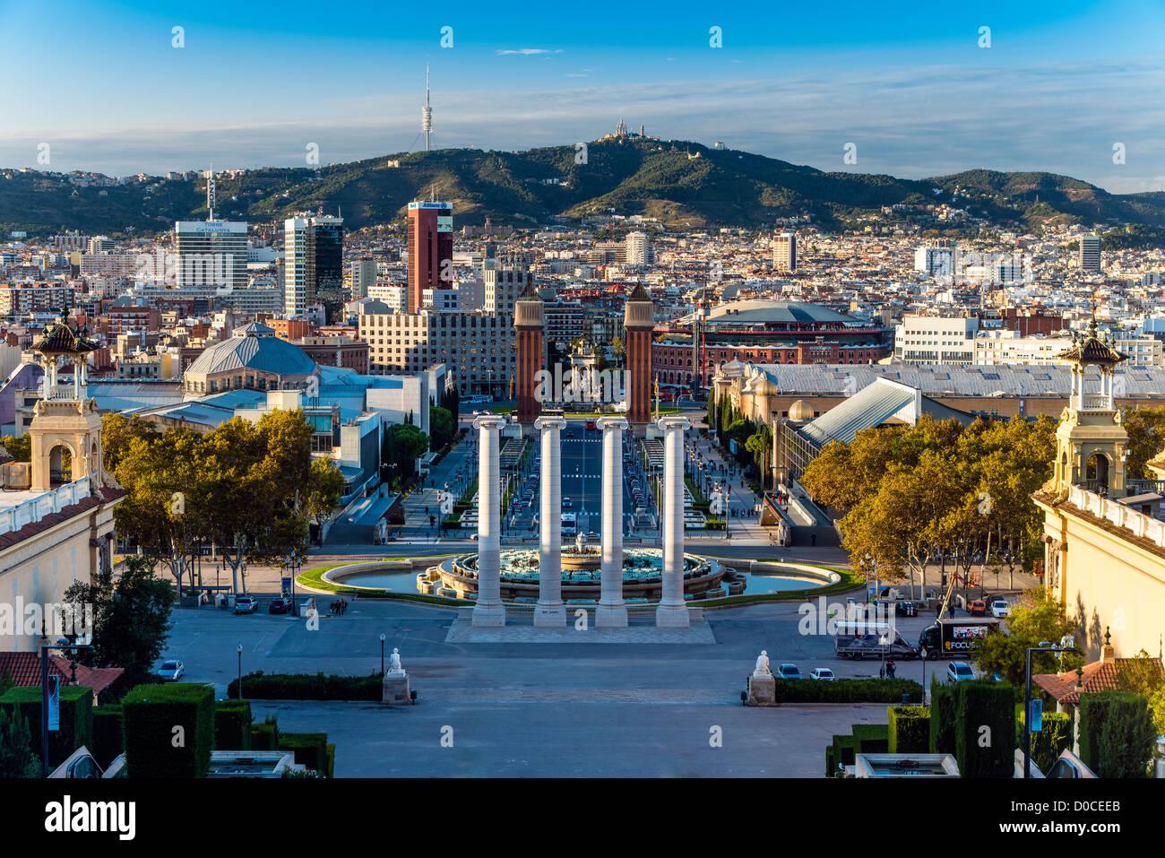 Panoramic view over Barcelona from Palau Nacional at Montjuïc, Barcelona, Catalonia, Spain - Stock Image