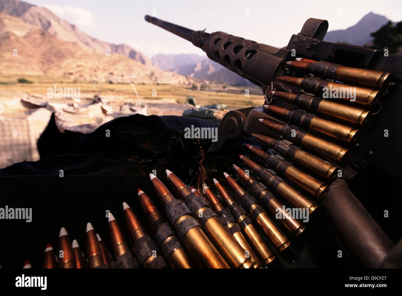 M2 .50 Caliber Machine Gun, Camp Blessing, Afghanistan - Stock Image