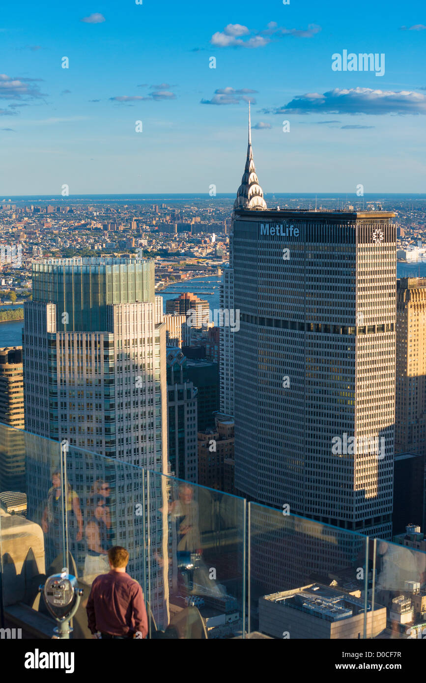 MetLife skyscraper and Chrysler building on Manhattan, New York - Stock Image
