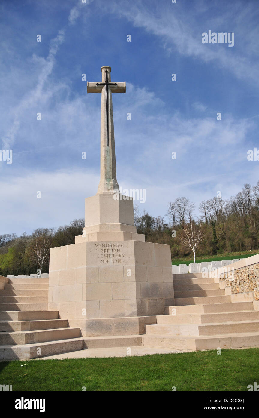 COMMONWEALTH CEMETERY FOR BRITISH SOLDIERS KILLED DURING THE FIRST WORLD WAR AISNE (02) FRANCE - Stock Image