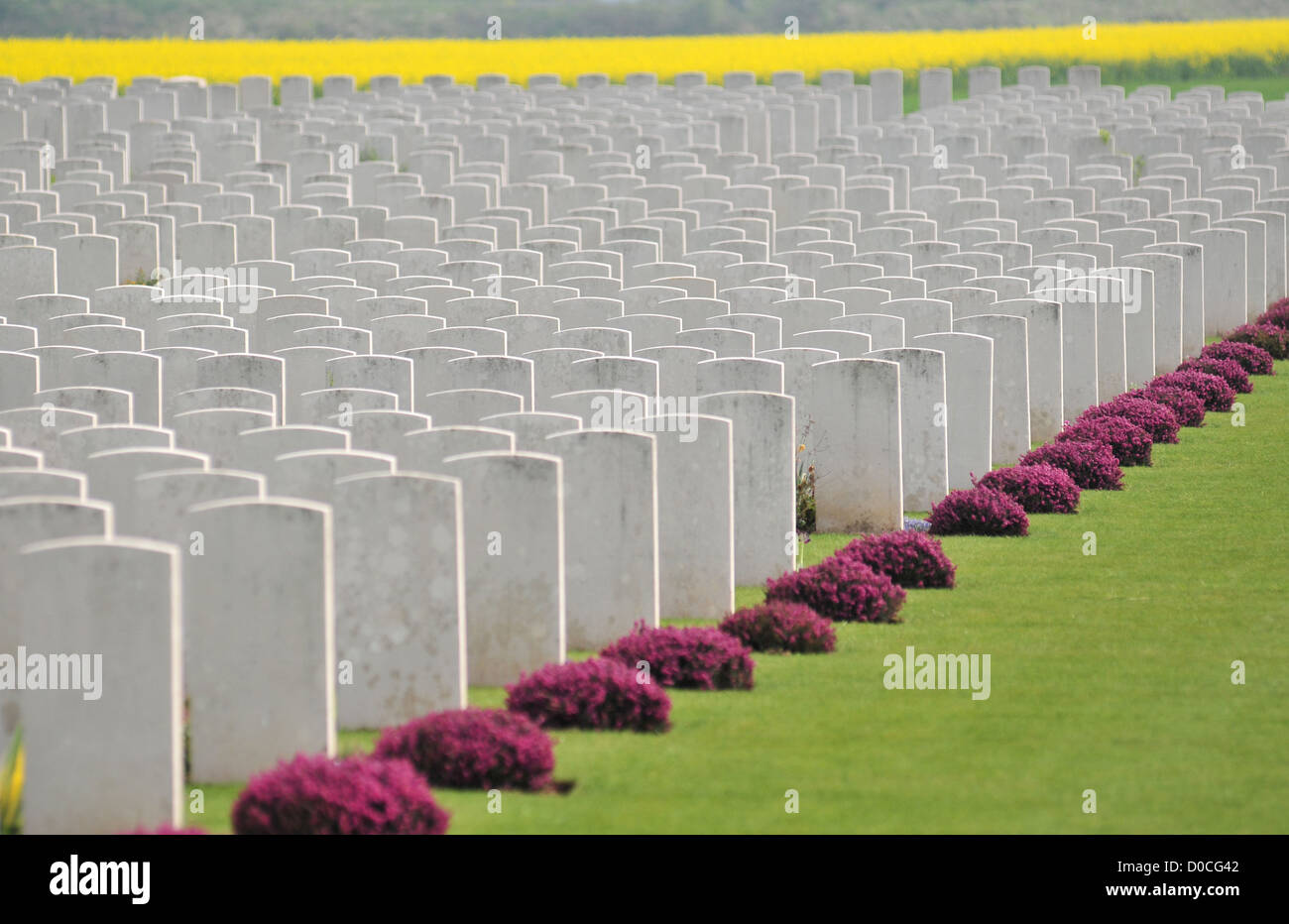 COMMONWEALTH CEMETERY FOR BRITISH SOLDIERS KILLED DURING THE FIRST WORLD WAR SOMME (80) FRANCE - Stock Image