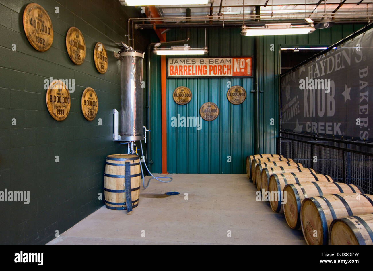 Barreling Porch at Jim Beam Distillery in Clermont, Kentucky - Stock Image