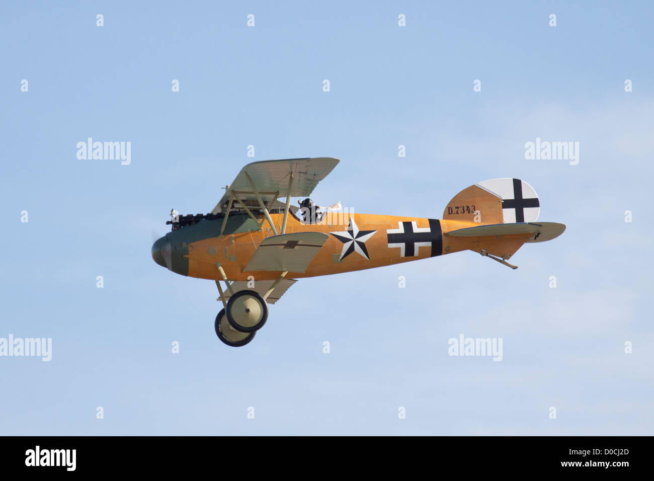 World War 1 Albatros D.Va First World War German Fighter Aircraft on a fly past. - Stock Image