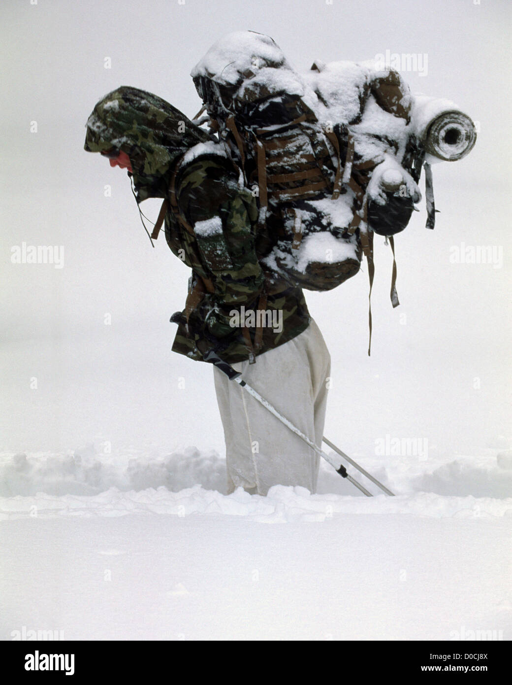 The Cold, Snowy Realities of Mountain Warfare Training - Stock Image