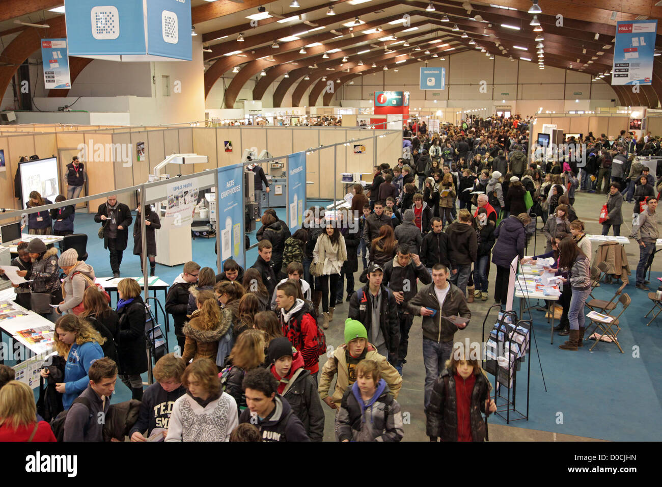 PUBLIC IN FRONT OF THE STAND FOR INDUSTRIAL GRAPHICS 42ND OLYMPIADES DES METIERS IN BRITTANY RENNES FRANCE - Stock Image