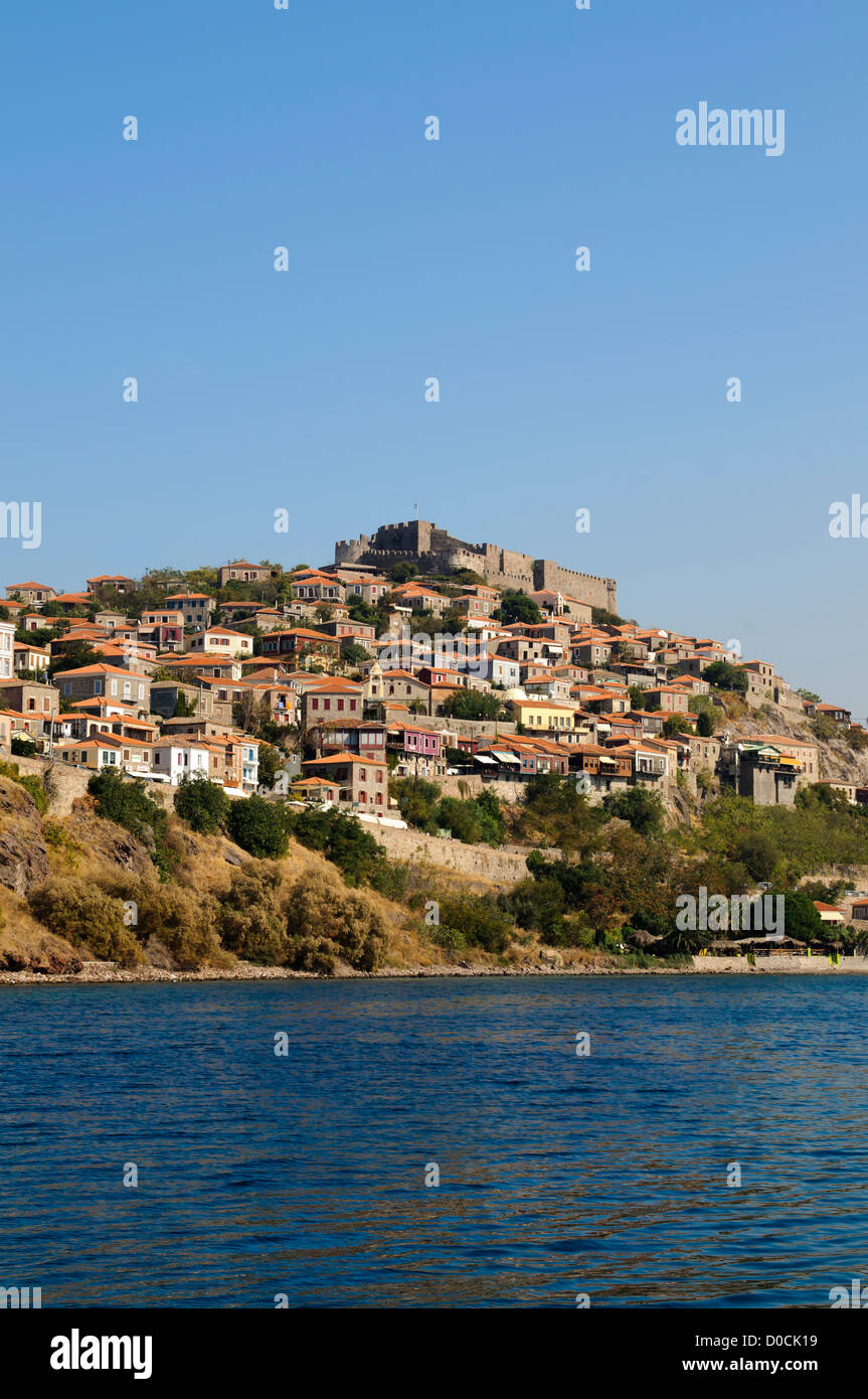 The Greek town of Molyvos on the Island of Lesvos built on a hillside - Stock Image