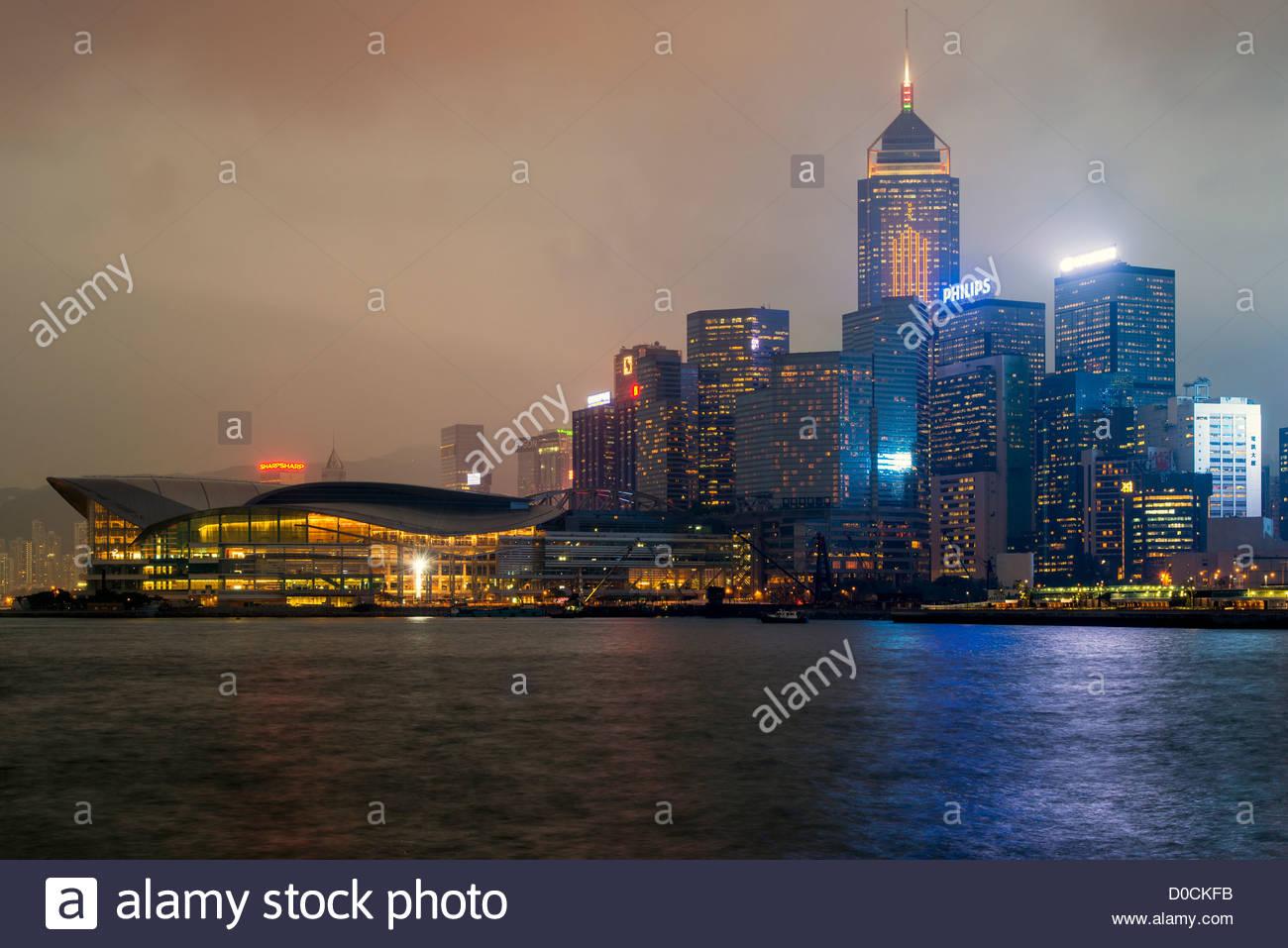 Night skyline at Causeway Bay, Hong Kong, China - Stock Image