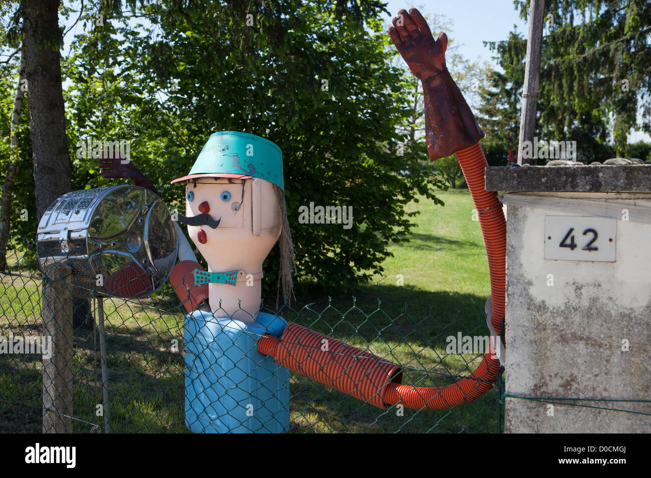 OUT OF THE ORDINARY MAILBOXES IN SAINT-MARTIN-D'ABBAT MAILBOX VILLAGE LOIRET (45) FRANCE - Stock Image