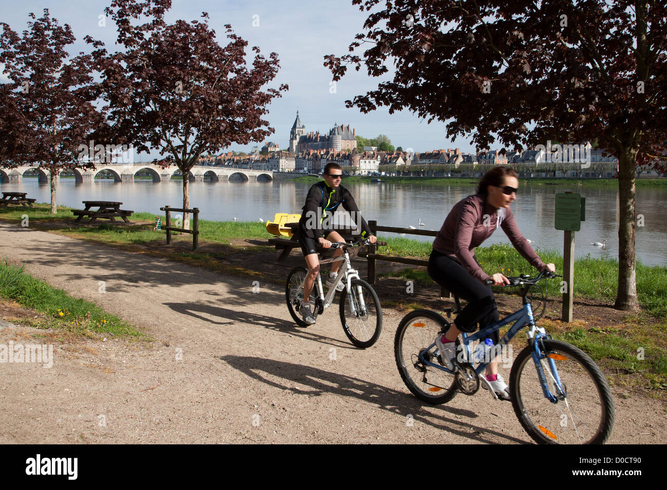 CYCLISTS ON THE 'LOIRE A VELO' CYCLING ITINERARY TOWN OF GIEN LOIRET (45) FRANCE - Stock Image