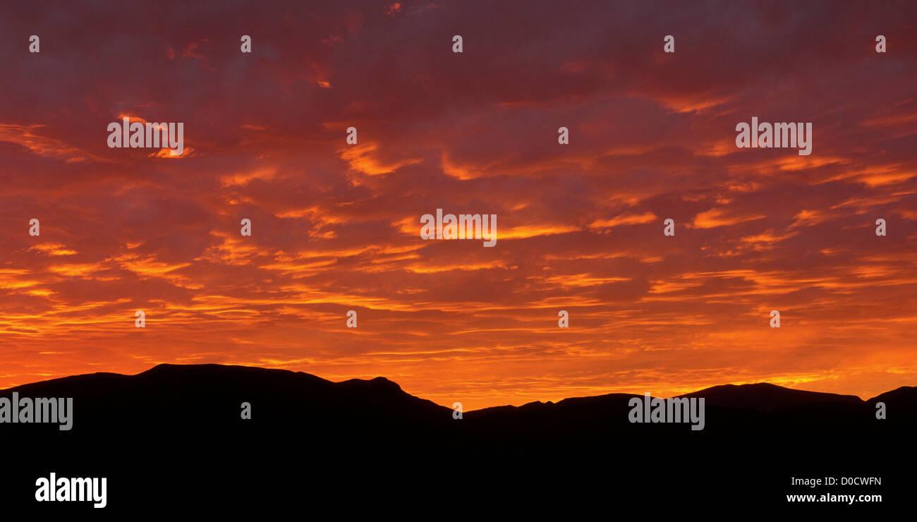Fiery Baja California Sunset - Stock Image