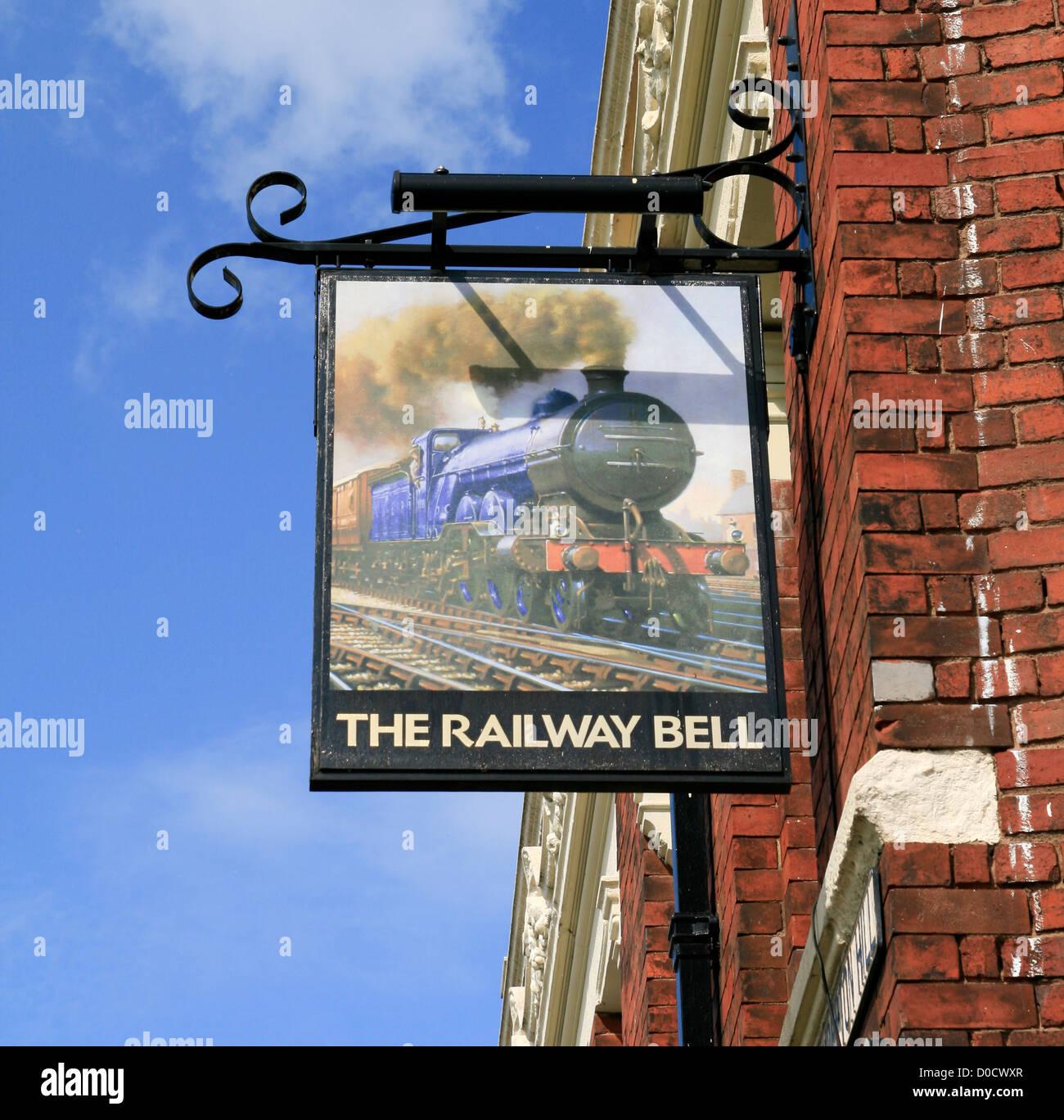 Railway Bell Inn sign Kidderminster Worcestershire England UK - Stock Image