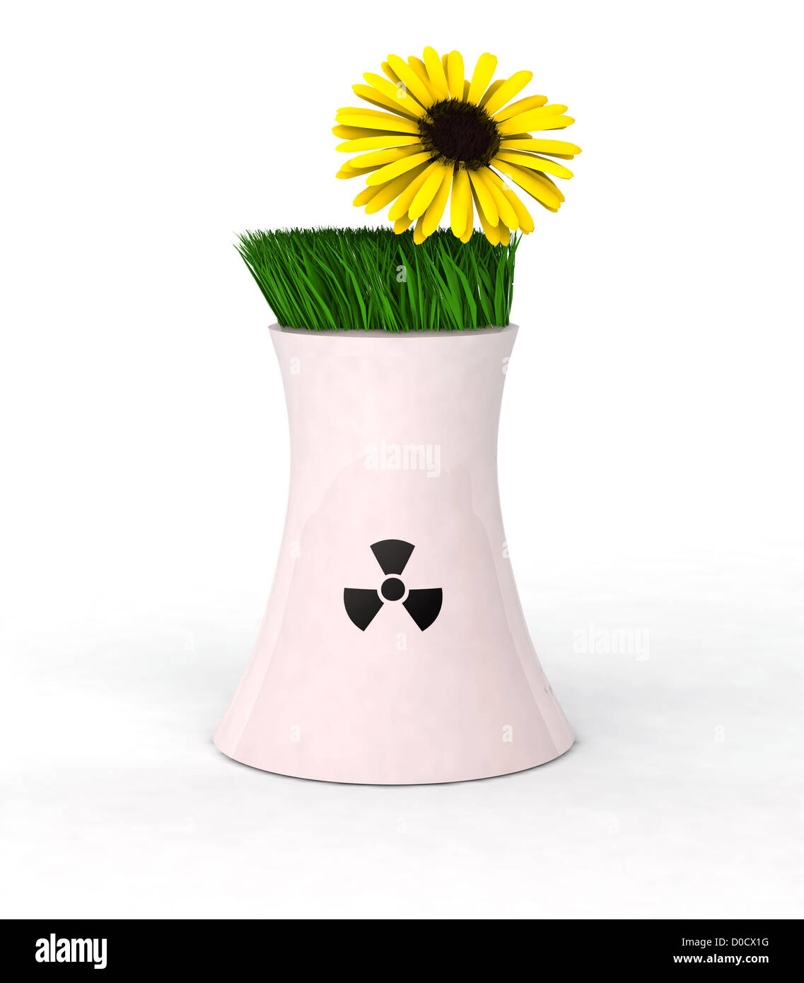 3d Illustration symbolizing concept prohibition of nuclear power - Stock Image