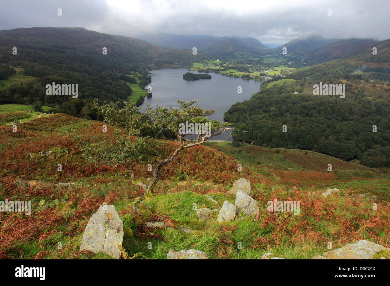Landscape view over Grasmere water from Loughrigg Terraces, Lake District National Park, Cumbria, England, UK - Stock Image