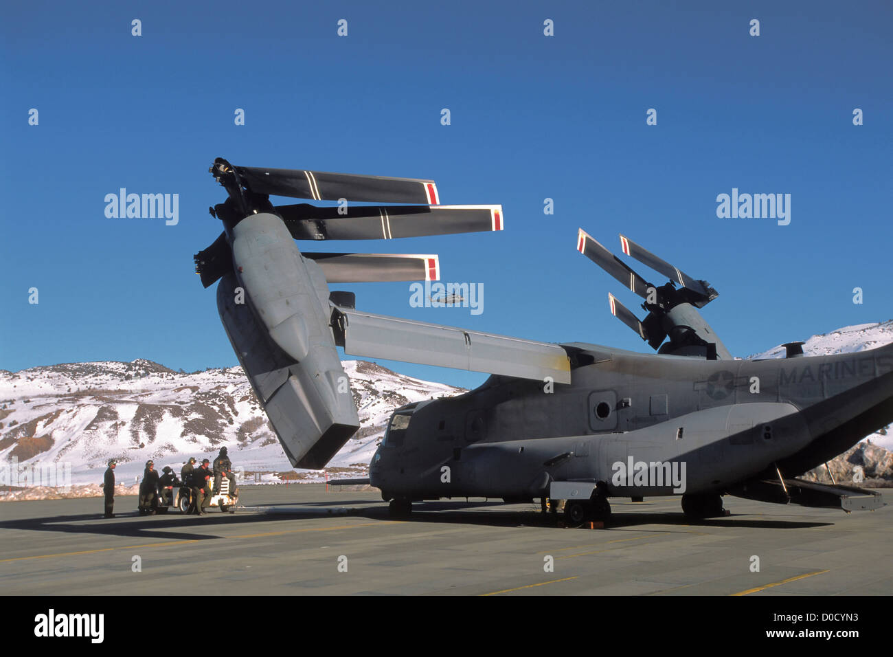 V-22 Osprey Rotates Its Wing After Folding Its Rotor Blades - Stock Image