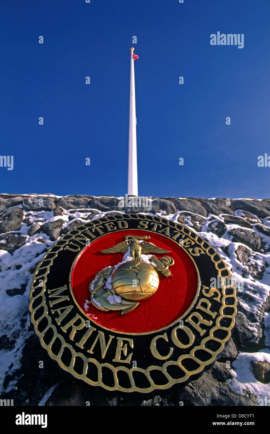 Entrance Way to the US Marine Corps Mountain Warfare Training Center After a Fresh Dusting of Snow - Stock Image