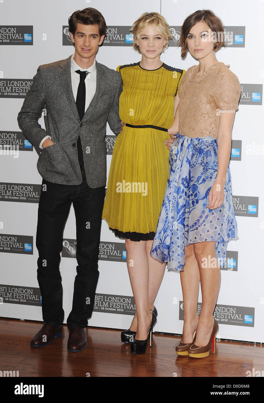 Andrew Garfield, Carey Mulligan and Keira Knightley The 54th Times BFI London Film Festival - Never Let Me Go - - Stock Image