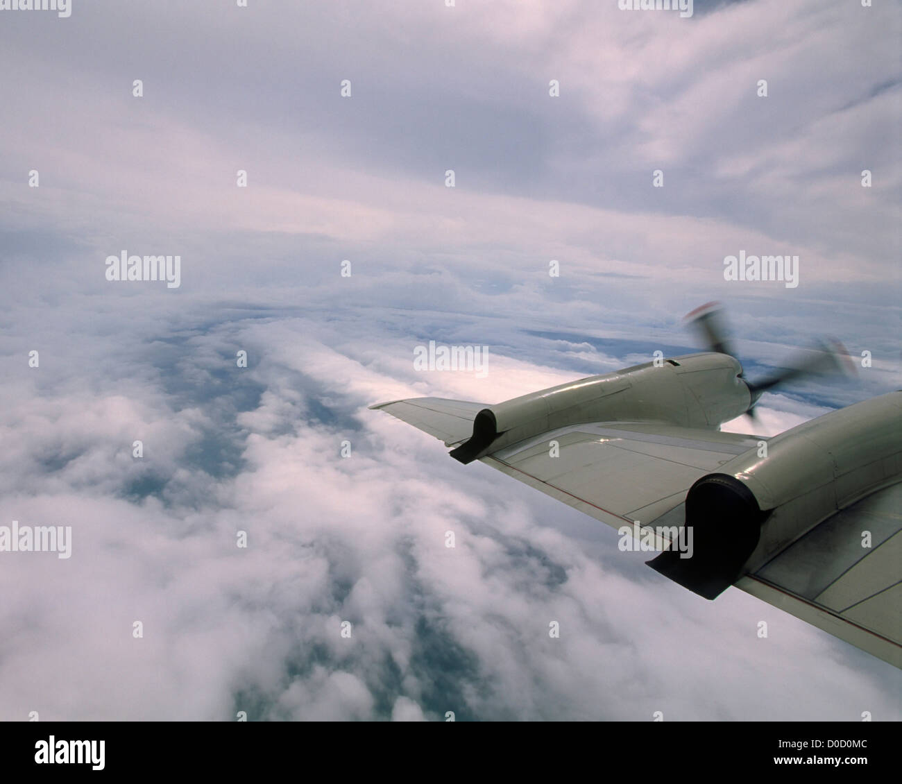 View Outer Bands Hurricane NOAA WP-3D Orion Hurricane Hunter as Crew Guides Craft Toward Eye Storm - Stock Image