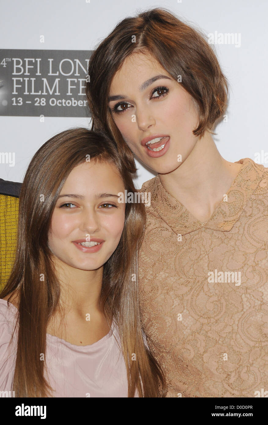 Keira Knightley and Ella Purnell The 54th Times BFI London Film Festival - Never Let Me Go - Photocall London, England - Stock Image