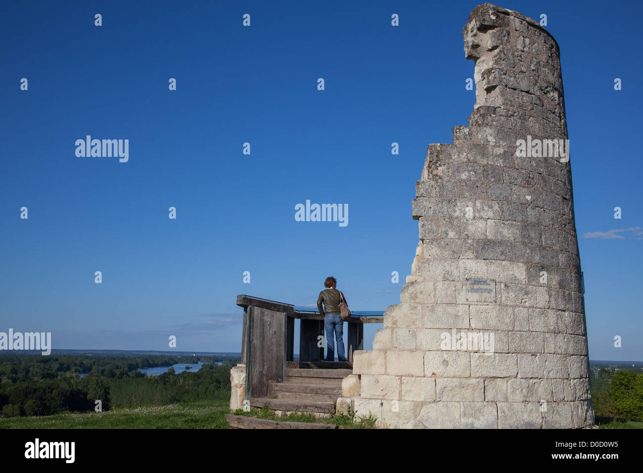 LOIRE A VELO' CYCLING ITINERARY BELVEDERE IN CANDES-SAINT-MARTIN INDRE-ET-LOIRE (37) FRANCE - Stock Image