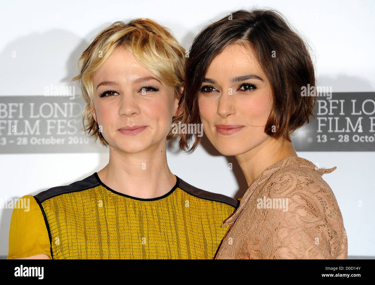 Carey Mulligan and Keira Knightley The 54th Times BFI London Film Festival - Never Let Me Go - Photocall London, - Stock Image