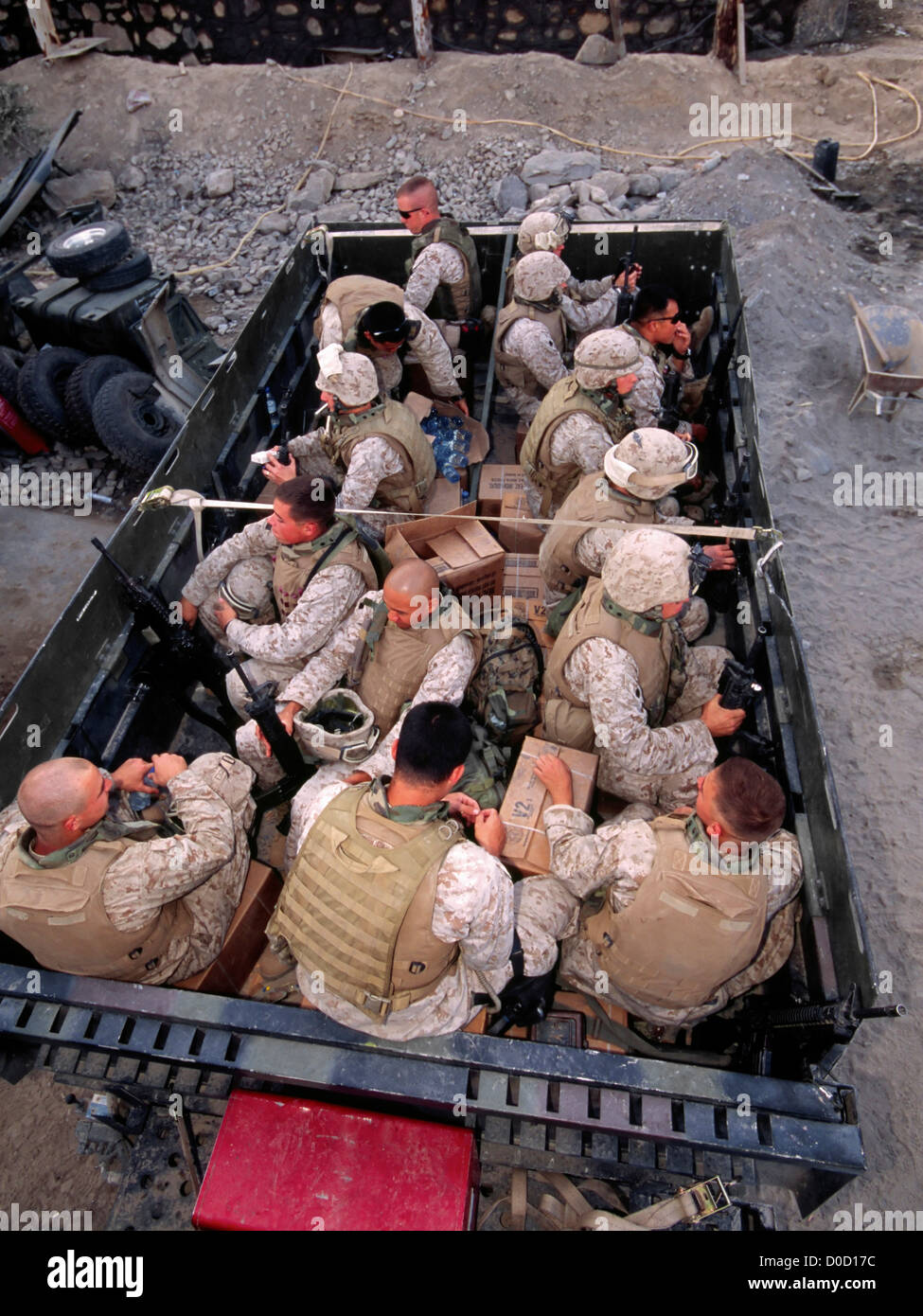 US Marines Loaded into a Large Troop Transport Before Embarking on a Combat Operation in Afghanistan's Eastern - Stock Image