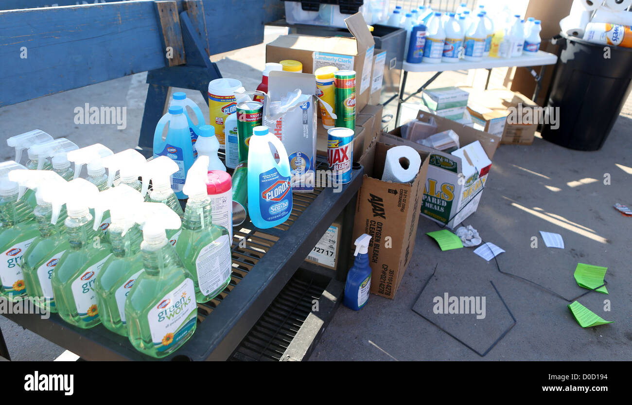 Cleaning supplies being distributed by volunteers await pickup in Breezy Point, NY, November 21, 2012. FEMA is working - Stock Image