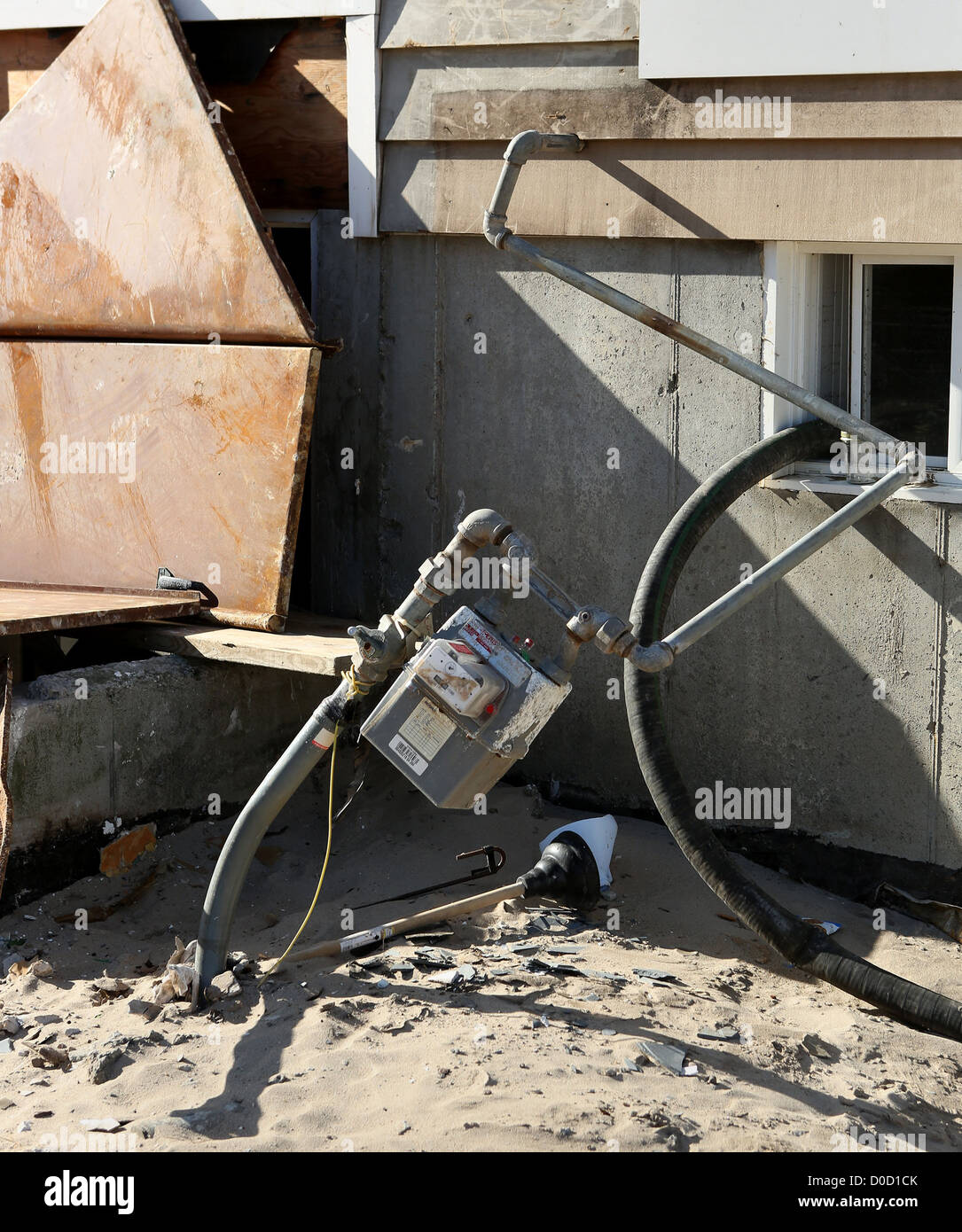 A gas meter on a home in Breezy Point, NY damaged by Tropical Storm Sandy waits repair November 21, 2012.FEMA is - Stock Image