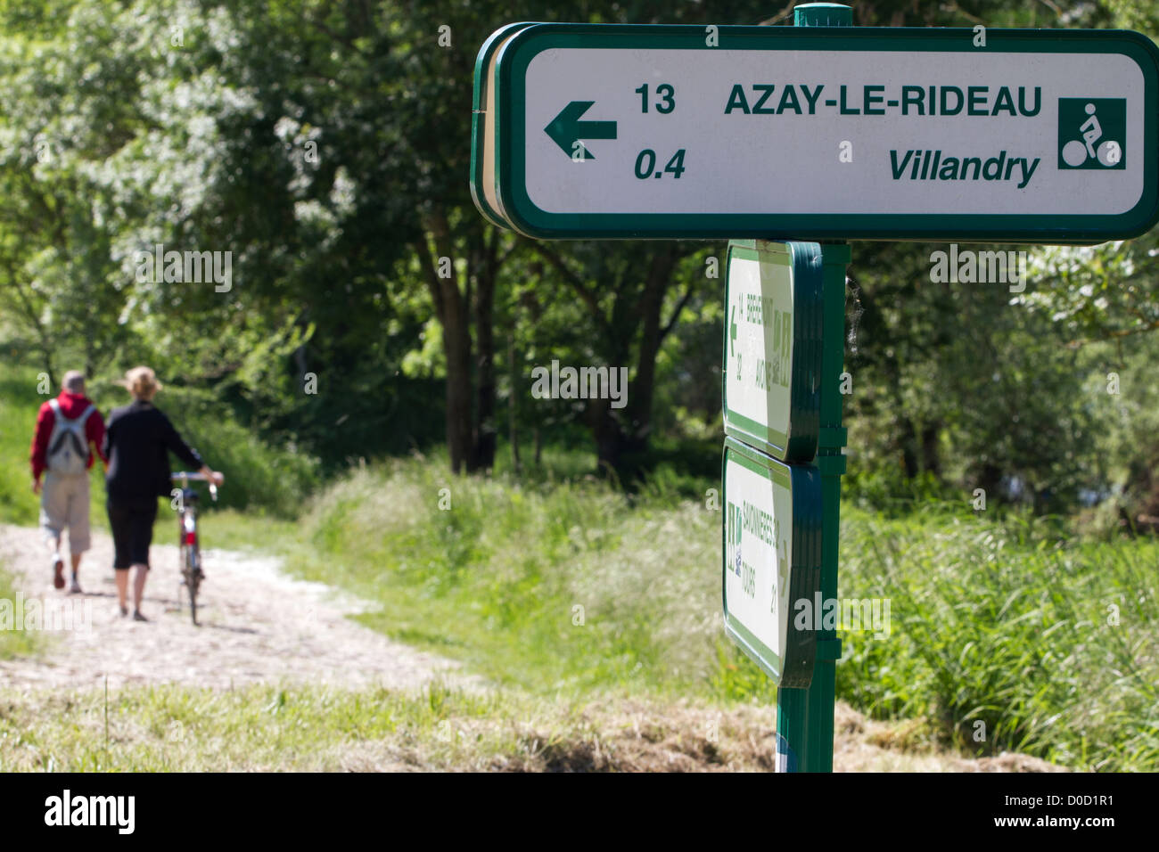 SIGN FOR THE 'LOIRE A VELO' CYCLING ITINERARY VILLANDRY INDRE-ET-LOIRE (37) FRANCE - Stock Image