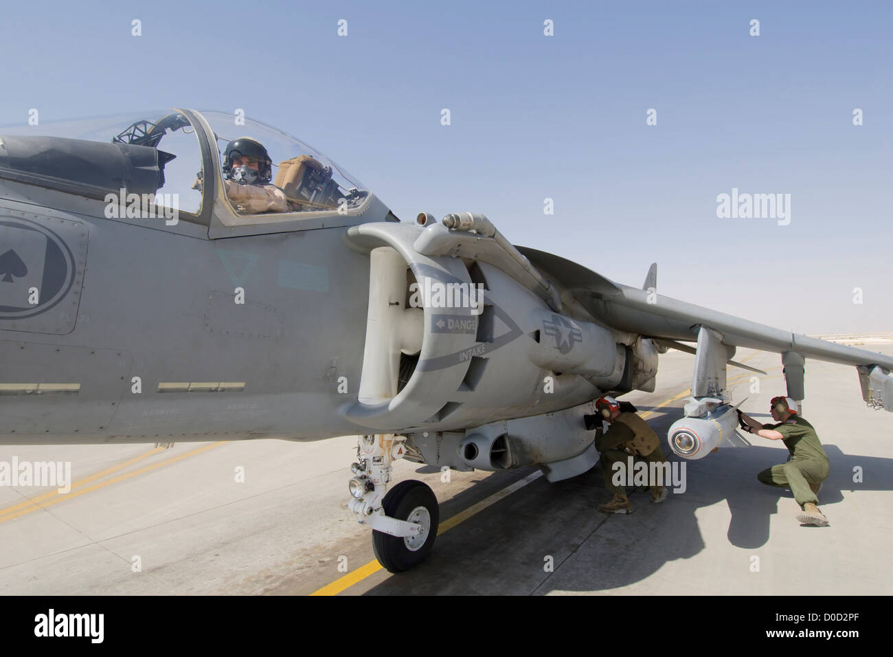 A US Marine Arms Laser Maverick Air Ground Missile Mounted on AV-8B Harrier Ready Launch Al Asad Air Base in Iraq's - Stock Image