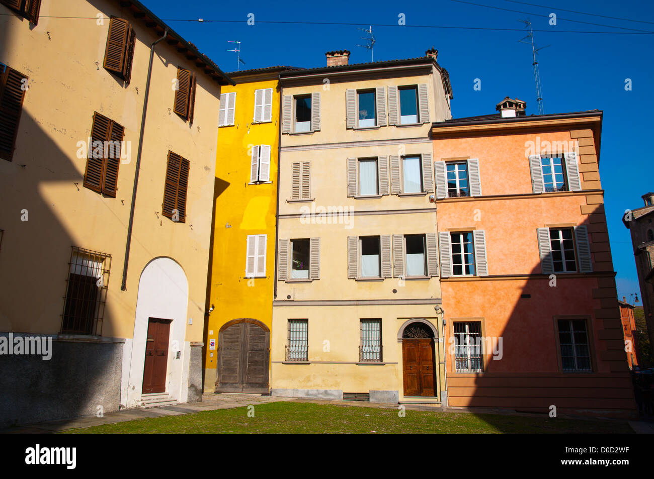 Colourful residential housing in central Parma city Emilia-Romagna region central Italy Europe - Stock Image