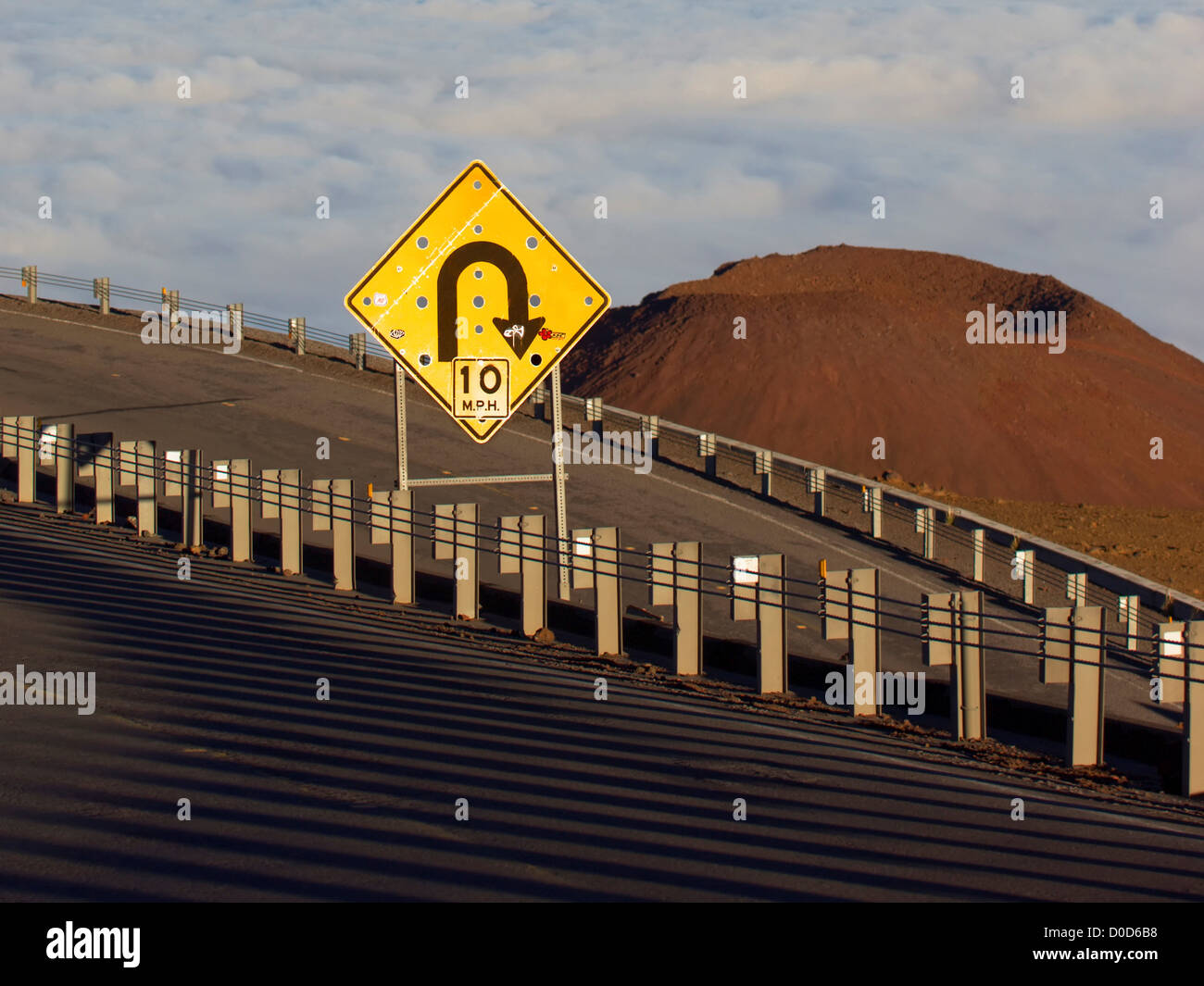 Hairpin Turn Above a Cinder Cone Near the Summit of Hawaii's Mauna Kea - Stock Image