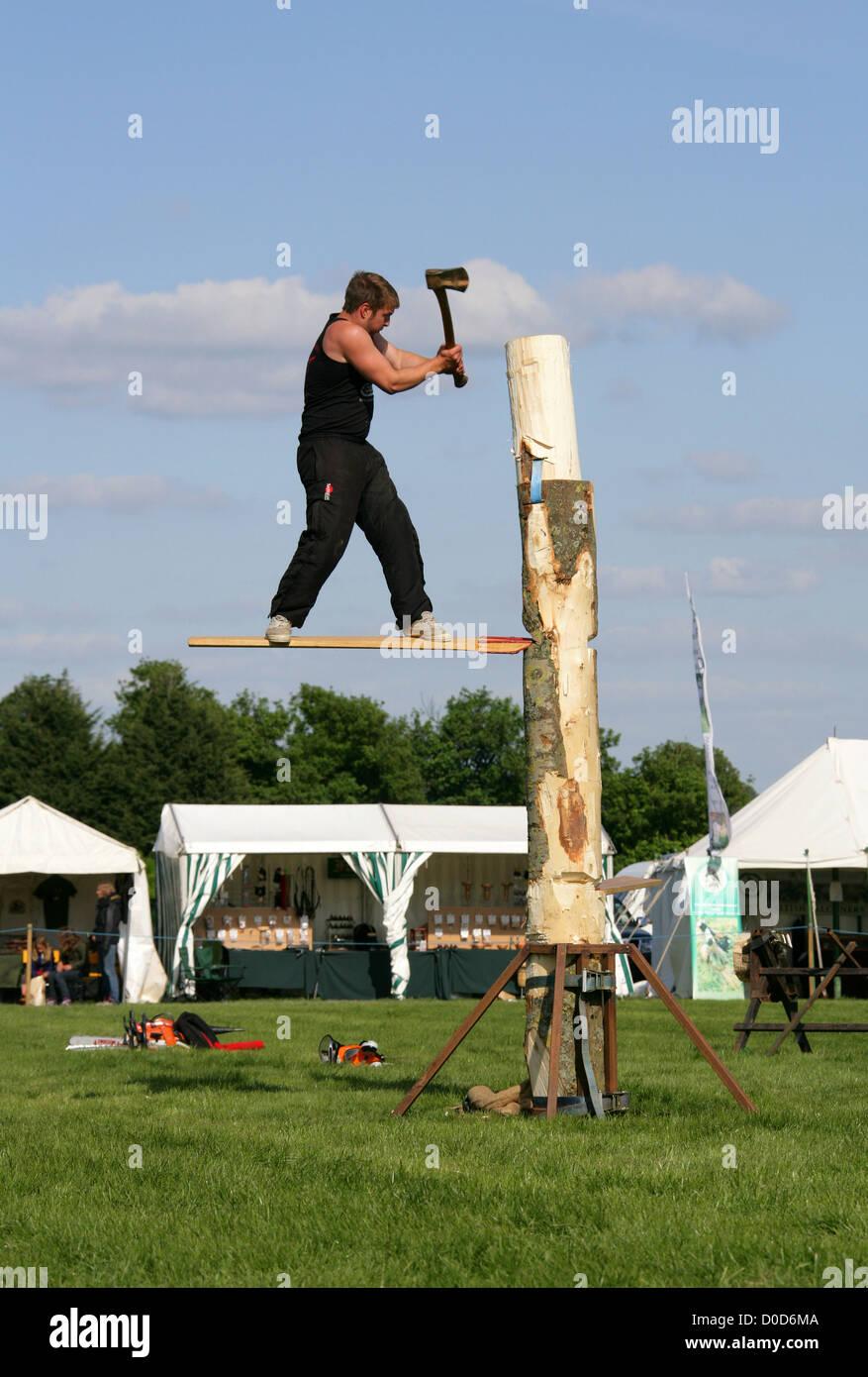 Tree Felling Competition, Ragley Hall, Warwickshire, UK. Stock Photo