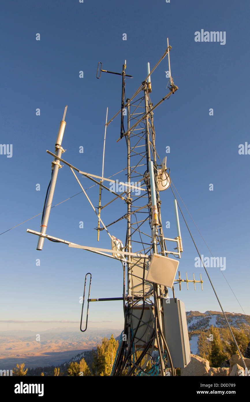 Repeater Tower Atop a Sierra Nevada Peak - Stock Image