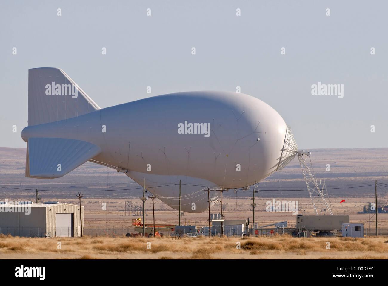 TARS Radar Balloon Tethered at Marfa, Texas Stock Photo