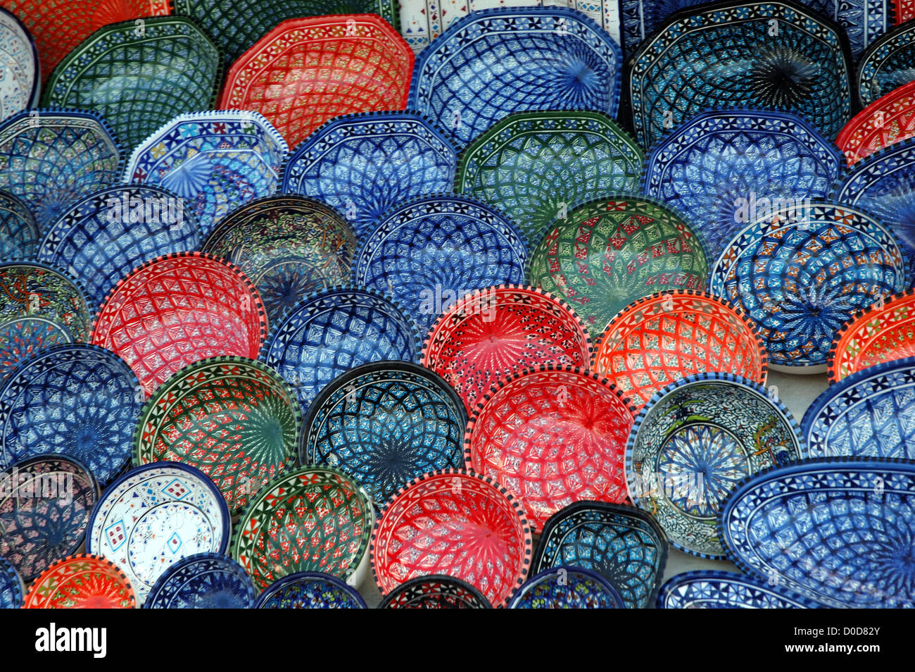 Pottery on sale at a shop in Tunisia - Stock Image