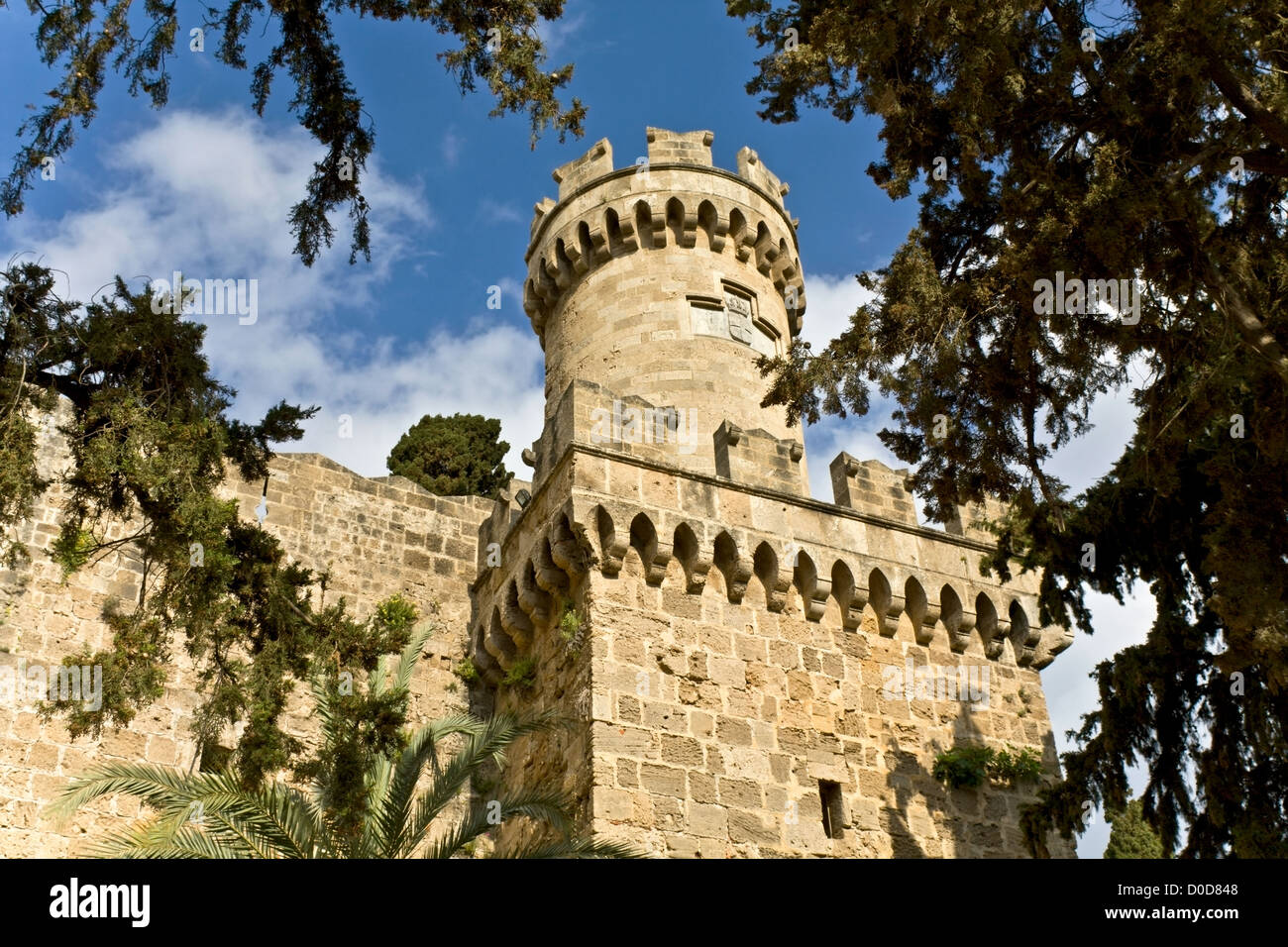 Castle of the Knights at Rhodes island, Greece - Stock Image