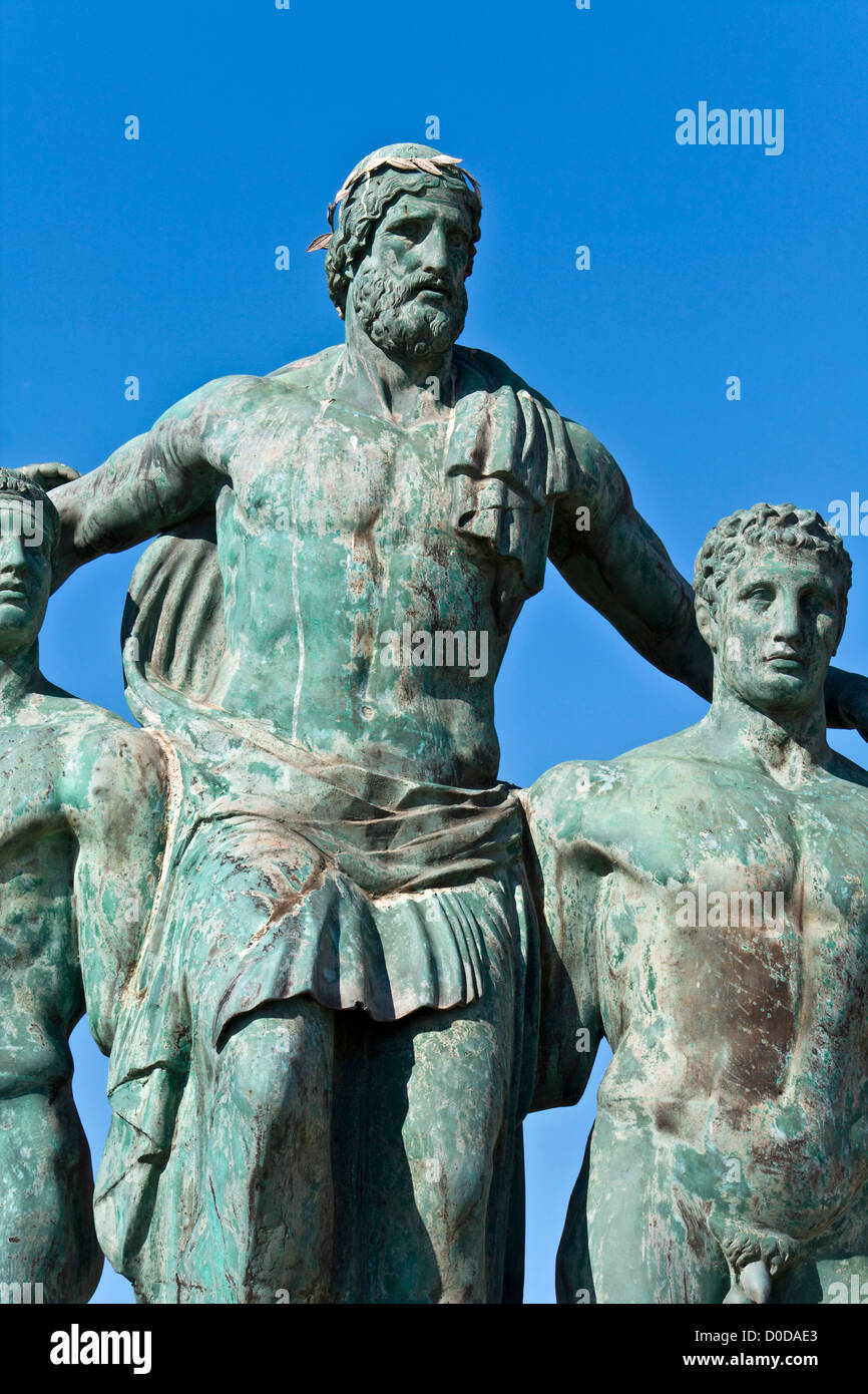 Classic ancient Greek statue at Rhodes island, Greece - Stock Image