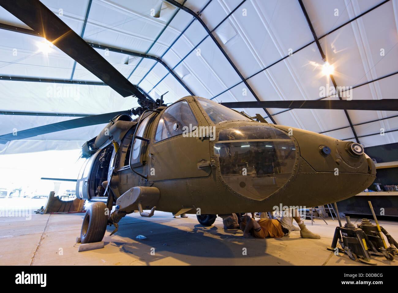 UH-60 Blackhawk Undergoing Maintenance - Stock Image