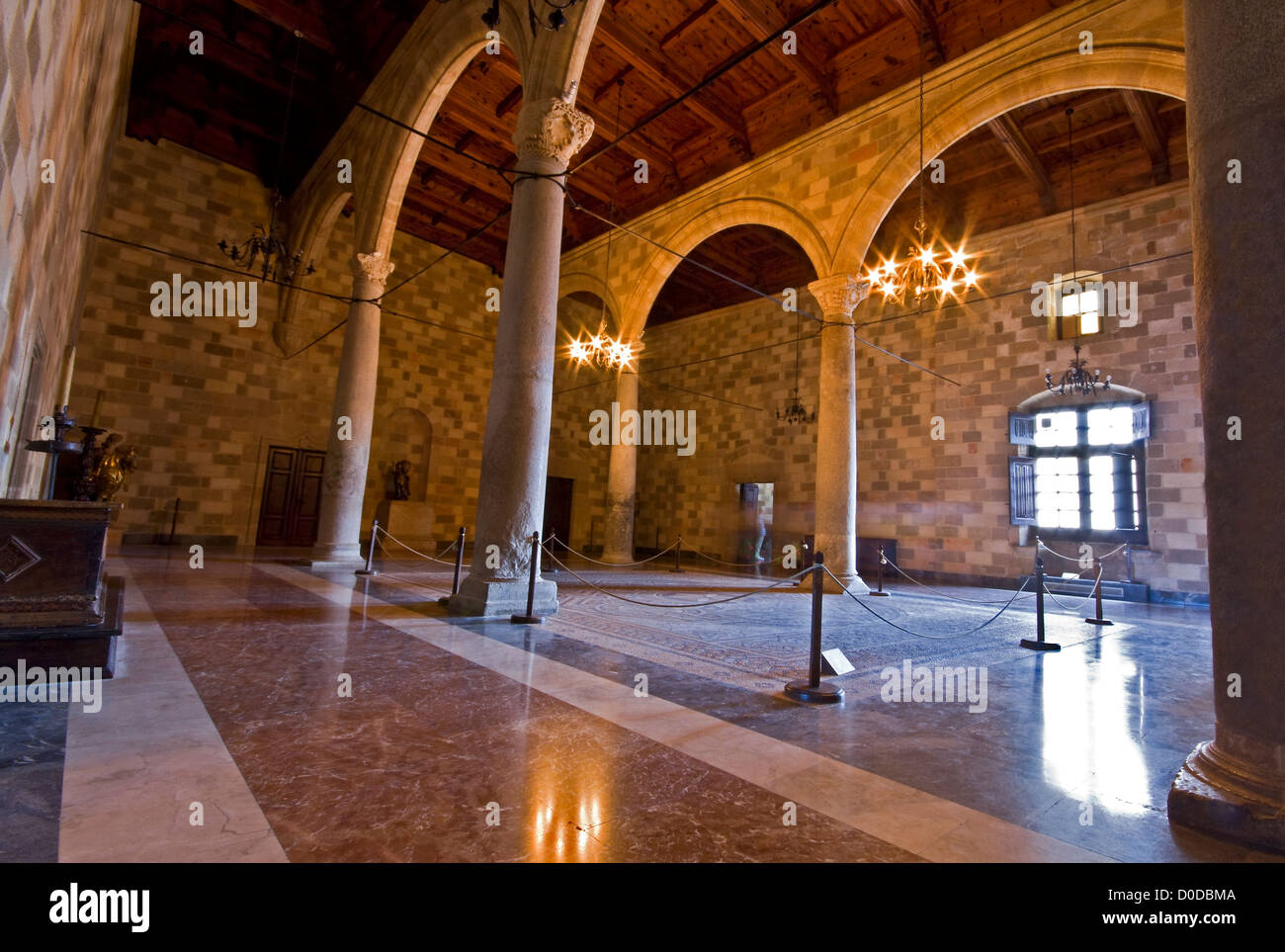 Room inside the palace of the Knights at Rhodes island, Greece - Stock Image