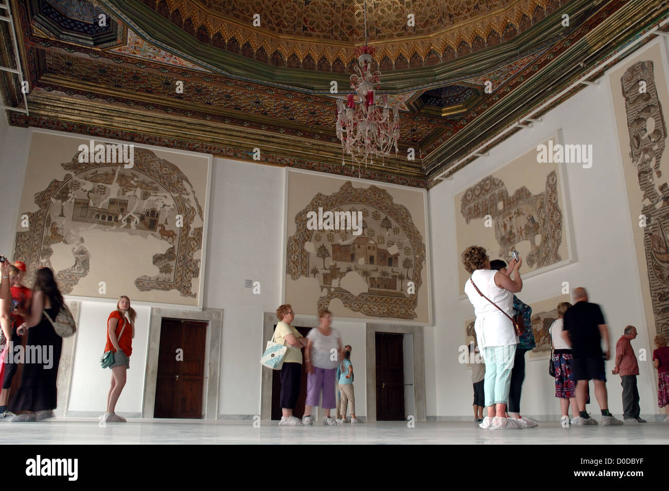 Tourists admire the mosaics at the Bardo Museum in Tunis, Tunisia Stock Photo