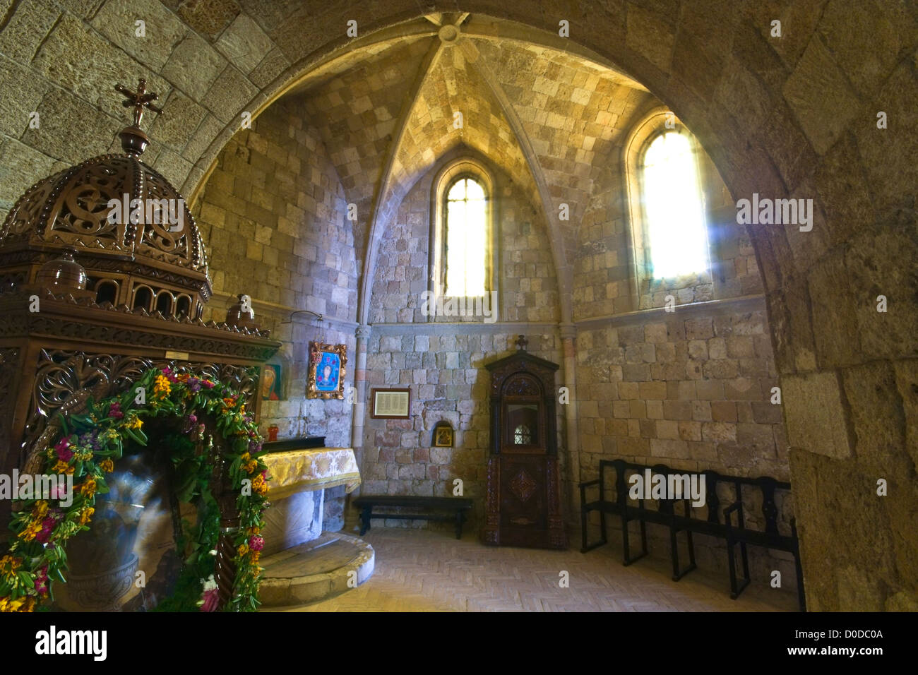 Old historic monastery of Filerimos at Rhodes island in Greece - Stock Image