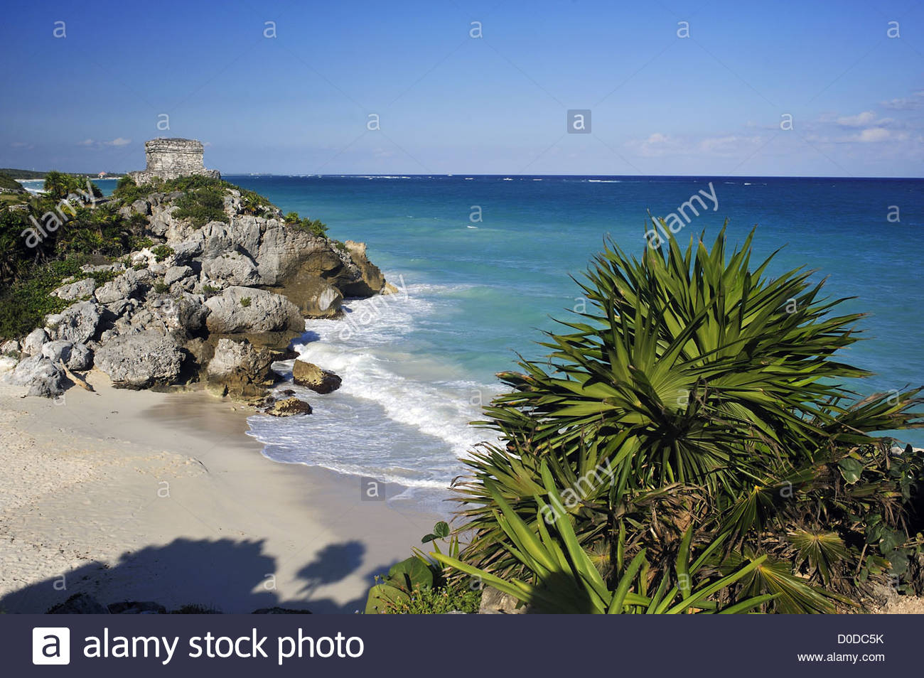 THE ARCHAEOLOGICAL DIG OF TULUM PRE-COLOMBIAN MAYAN CITY QUINTANA ROO MEXICO NORTH AMERICA - Stock Image