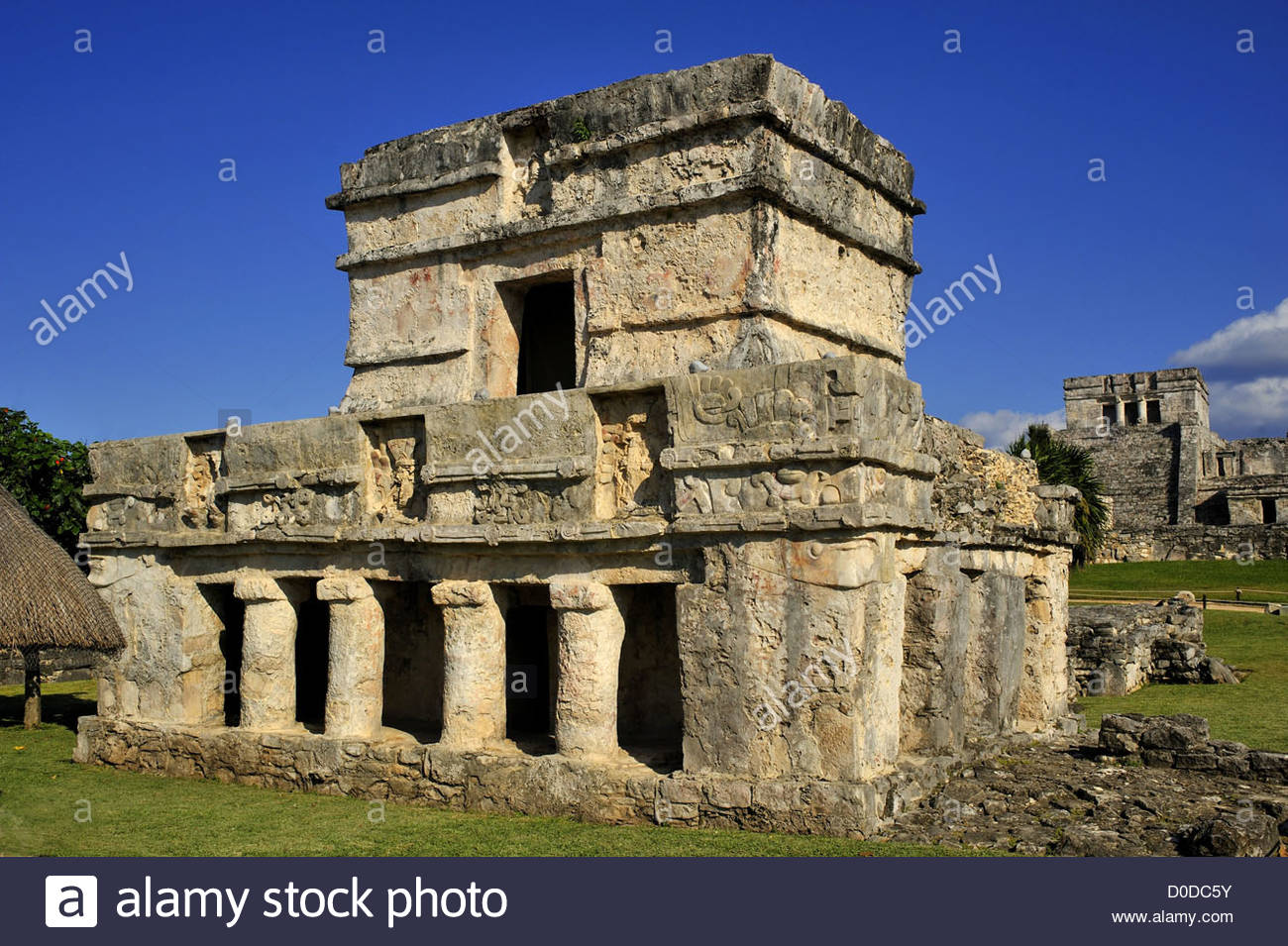 TEMPLE OF FRESCOES THE ARCHAEOLOGICAL SITE OF TULUM PRE-COLOMBIAN MAYAN CITY QUINTANA ROO MEXICO NORTH AMERICA - Stock Image