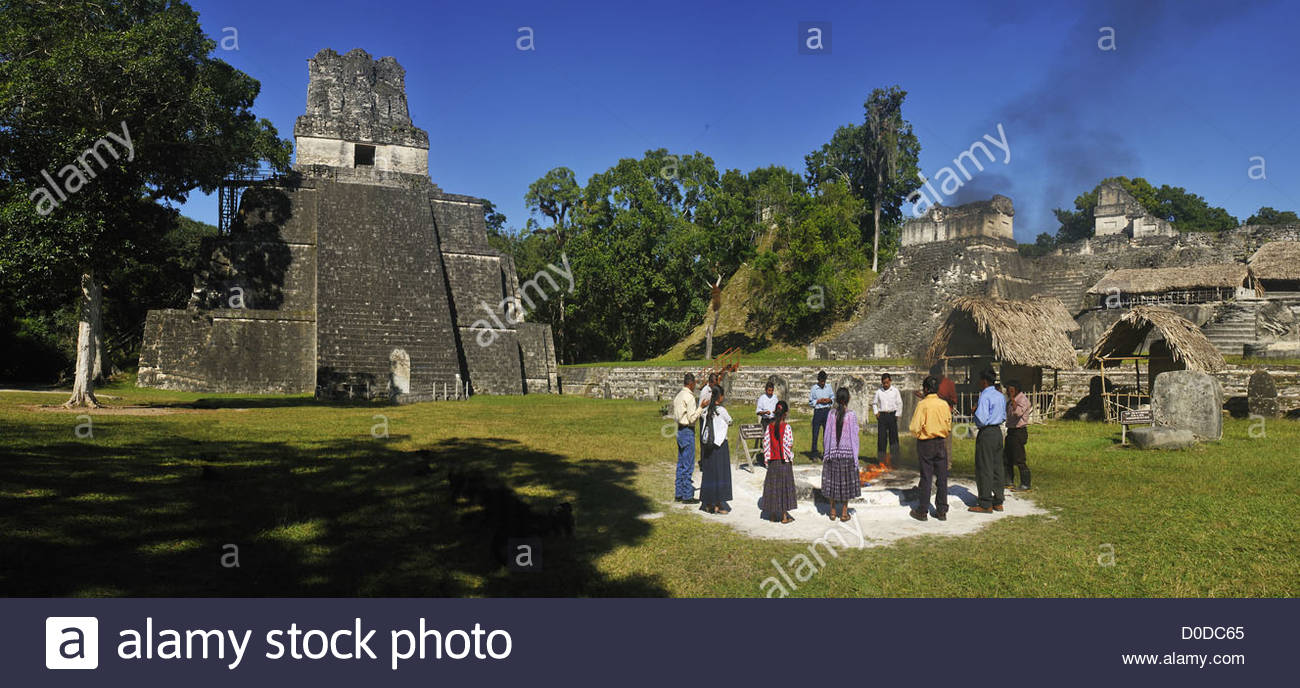 SHAMANISM IN THE PRE-COLOMBIAN MAYAN CITY OF TIKAL GUATAMALA CENTRAL AMERICA - Stock Image