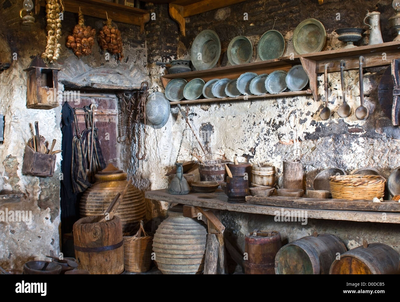 Old Traditional Kitchen Inside A Greek Monastery At