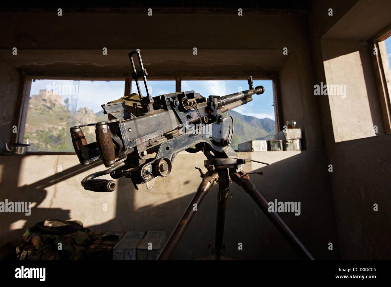 DShK 12.7mm Heavy Machine Gun in a Bunker - Stock Image