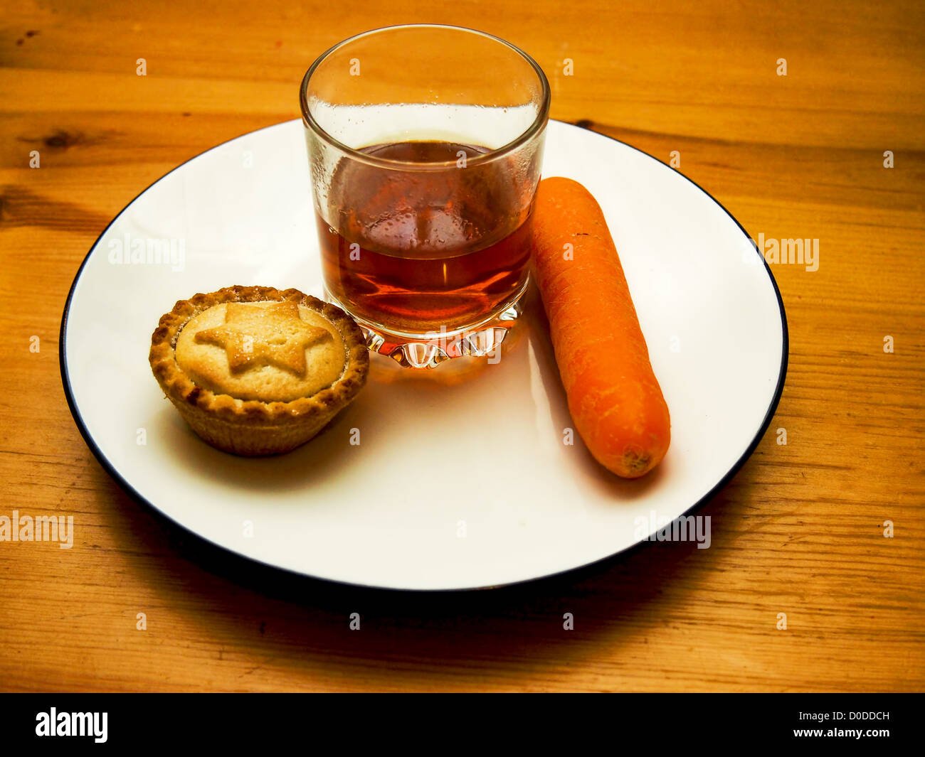 snacks and a drink for santa and rudolph on christmas eve stock image - Christmas Eve Snacks