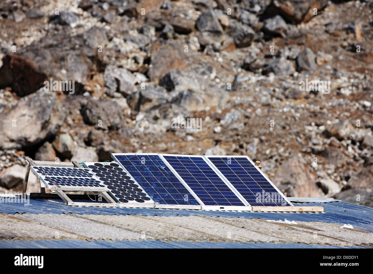 Solar photovoltaic panels at Phulangkarpo, in the Mount Everest Region of Nepal - Stock Image