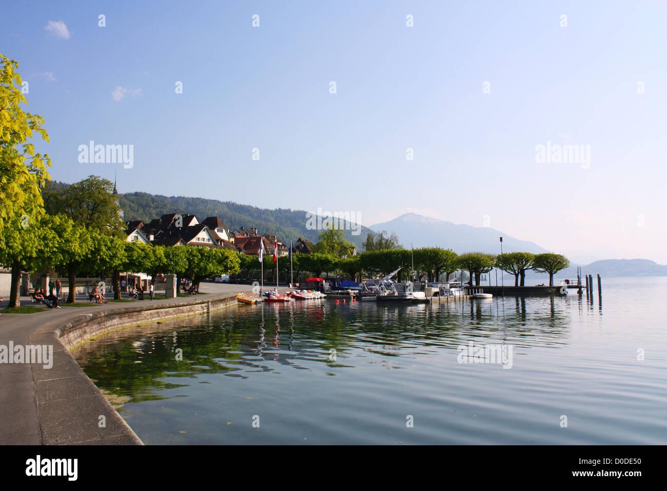 Lake view in Zug, Switzerland Stock Photo